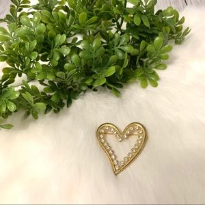 Vintage 90s Gold Tone and Rhinestone Hearts Brooch